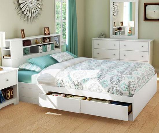 Điểm mạnh của giường ngủ màu trắng có ngăn kéo