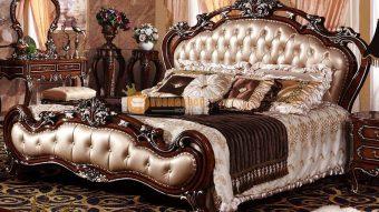 Giường ngủ gỗ sồi kiểu dáng sang trọng