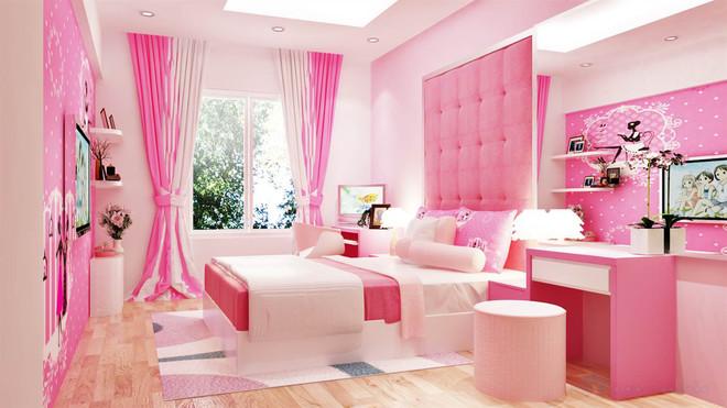 Thiết kế đồ nội thất phòng ngủ trẻ em màu hồng