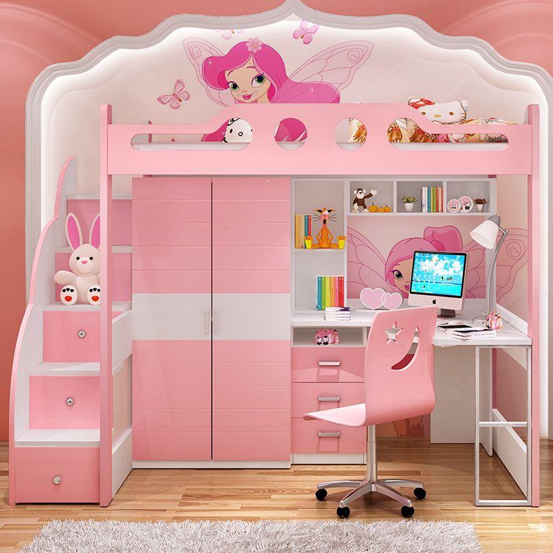 Giường tầng cho bé gái màu hồng đa năng