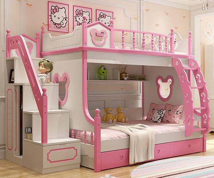 Giường tầng cho bé gái màu hồng hình mèo hello kitty