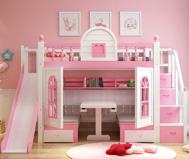 Giường tầng cho bé gái màu hồng kiểu dáng mới