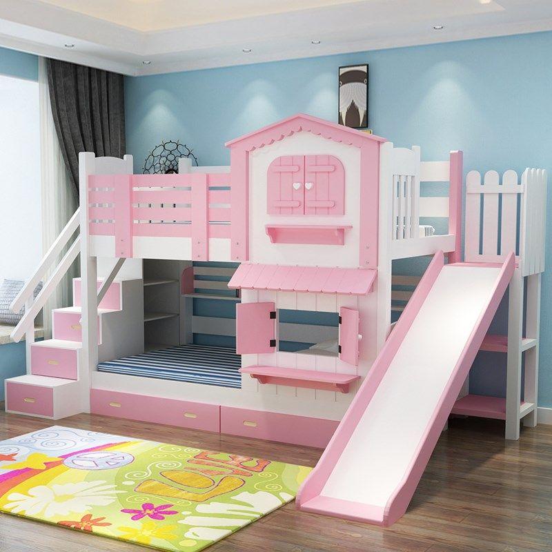 Giường tầng cho bé gái màu hồng kiểu ngôi nhà