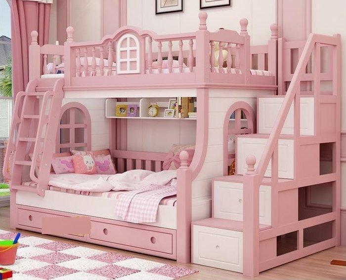 Giường tầng cho bé gái màu hồng thiết kế hình lâu đài