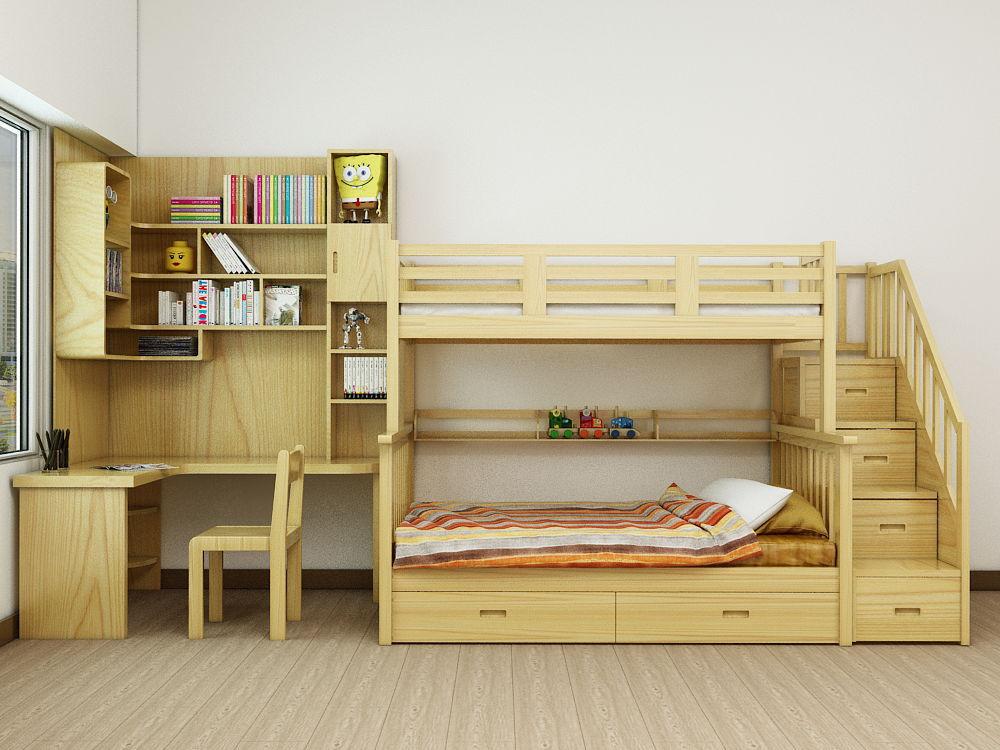 Mẫu giường tầng kết hợp bàn học di động