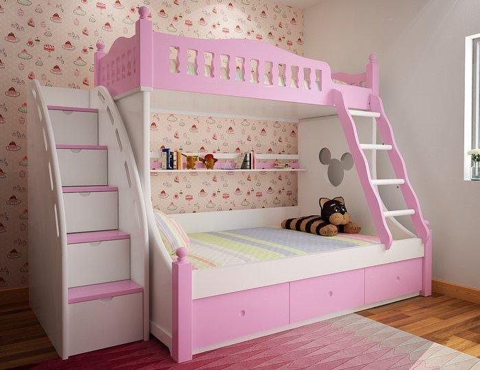 Vì sao mẫu giường tầng cho bé gái màu hồng được ưa chuộng?