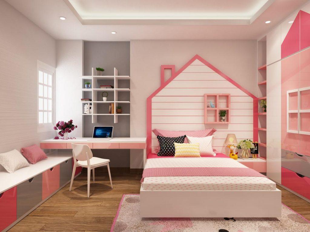 Phòng ngủ cho bé gái đơn giản với tone hồng