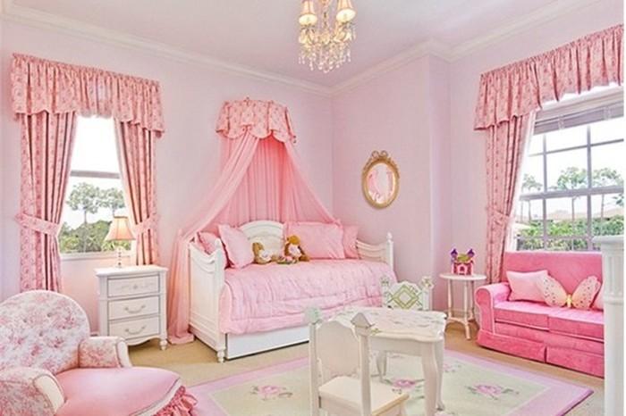 Phòng ngủ cho bé gái màu hồng – ước mơ của mọi bé