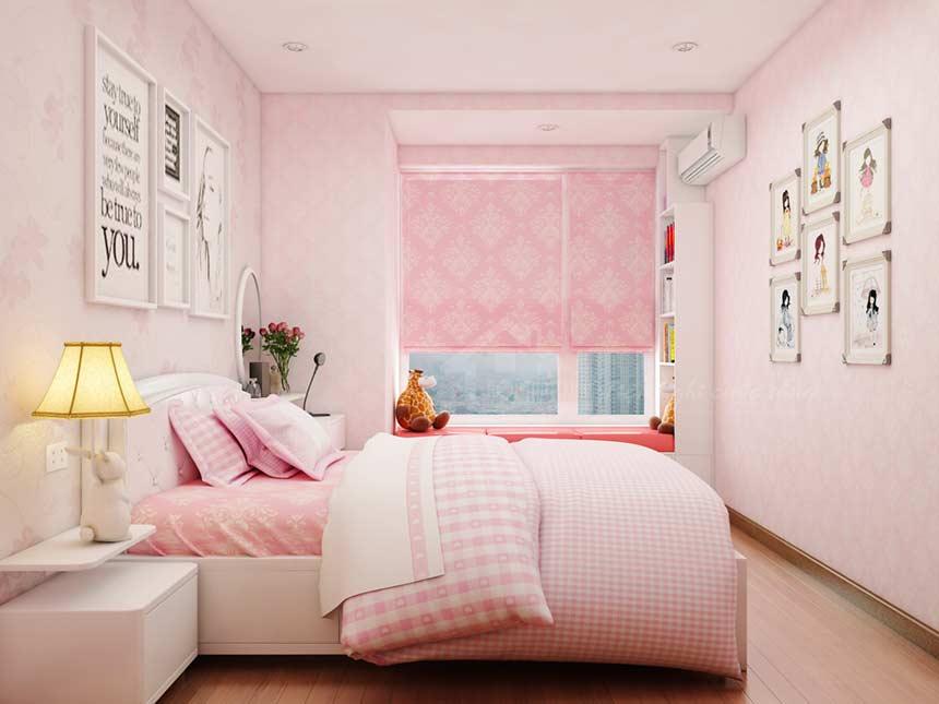 Phòng ngủ màu hồng dễ thương