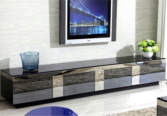 Mẫu kệ tivi phòng khách đơn giản bằng kính