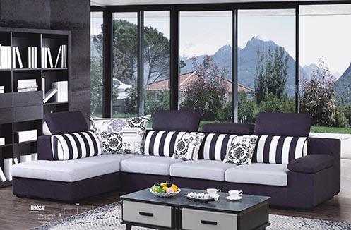 Sofa nỉ phòng khách phối kẻ dọc