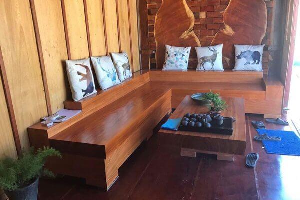 Mẫu bàn ghế sofa gỗ nguyên khối