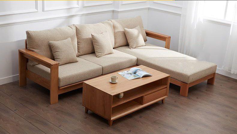 Mẫu bàn ghế sofa gỗ phòng khách đơn giản
